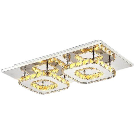 Square Modern Ceiling Light LED Ceiling Light Crystal Ceiling Light Fixture Lamp for Dining Room Bathroom Bedroom Livingroom(Warm)