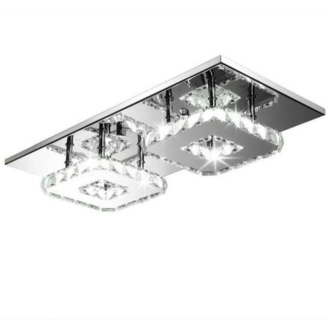 Square Modern Ceiling Light LED Ceiling Light Crystal Ceiling Light Fixture Lamp for Dining Room Bathroom Bedroom Livingroom(White)
