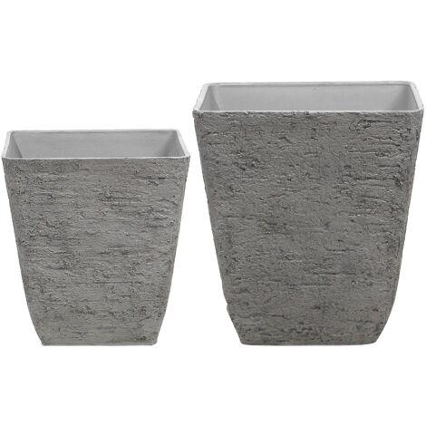 Square Outdoor Planter Pot Set Stone Raw Grey Delos