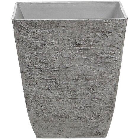 Square Outdoor Planter Pot Stone Raw 39x43 cm Grey Delos