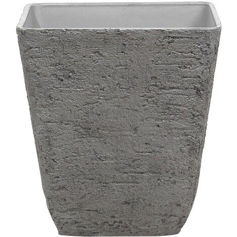 Square Outdoor Planter Pot Stone Raw 49x53 cm Grey Delos