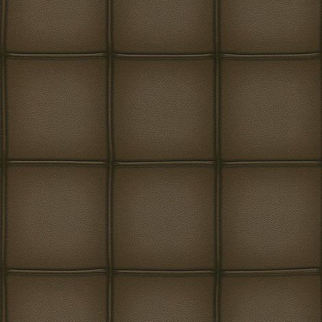 Square Panel Tile Effect Wallpaper Dark Brown Faux Leather Paste The Wall Rasch