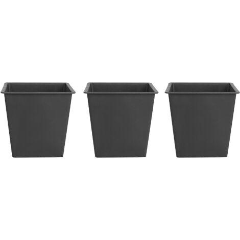 Square Plant Pot Protective Insert Set Black Synthetic