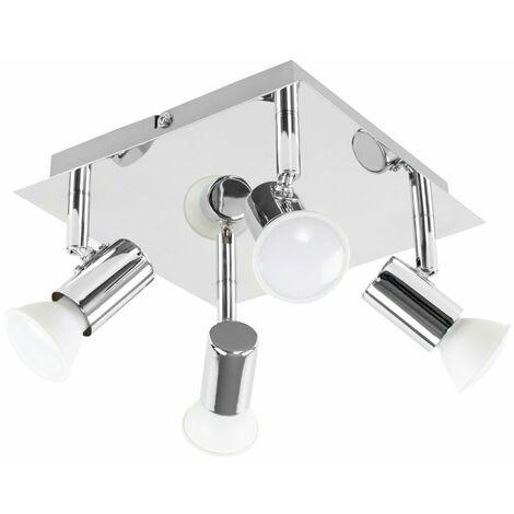 Square Plate 4 Way Ceiling Spotlight + 5W Warm White LED GU10 Bulbs - Black Chrome - Black