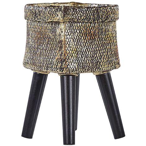"""main image of """"Square Pot Gold Magnesium Black Wooden Legs 22x22x18 cm Evreti"""""""