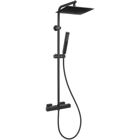 Square Rainfall Black Brass Shower Column Wallmounted Thermostatic Mixer