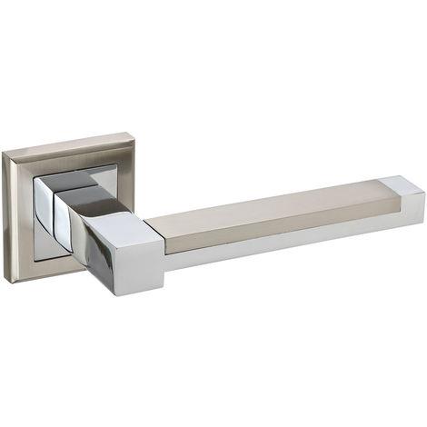 Chrome Door Handles >> Square Rose Door Handles In Dual Chrome With Rectangular Lever