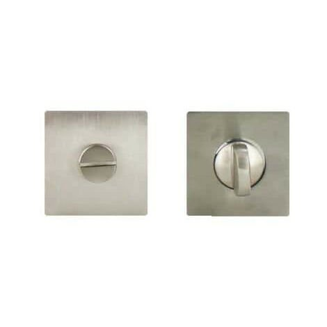 square rosettes in stainless steel with locking button without seeing Klose Besser