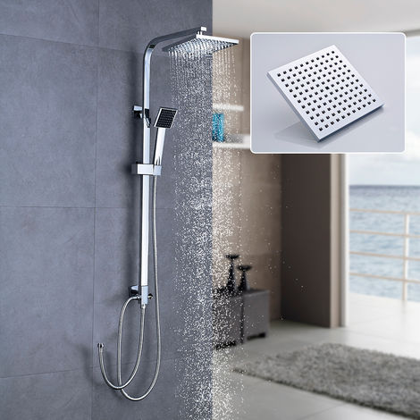 Square Shower Column without Mixer Rainfall Shower Head System Bath Rain Shower Shower Set without Faucet, Adjustable Height 64-99cm