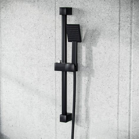 Square Shower Matte Black Handset and Hose with Slider Riser Rail Bracket
