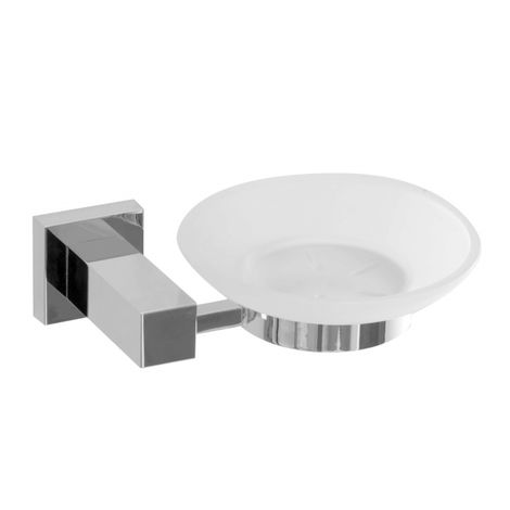 Square Solid Metal Glass Soap Dish Holder