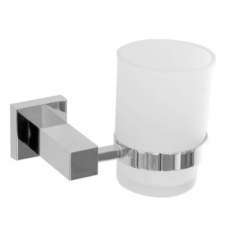 Square Solid Metal Glass Toothbrush Holder
