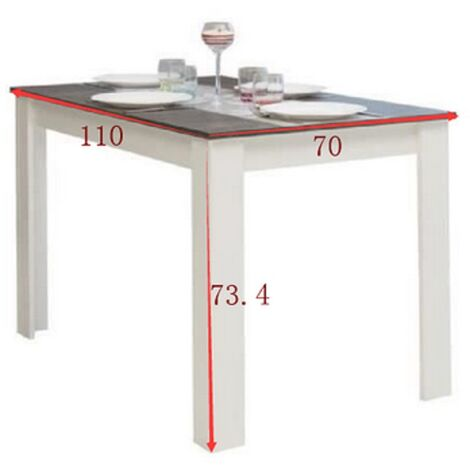 Square solid wood dining table 110 * 70 * 73.4cm