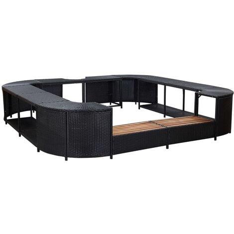 Square Spa Surround Black 268 x 268 x 55 cm Poly Rattan - Black