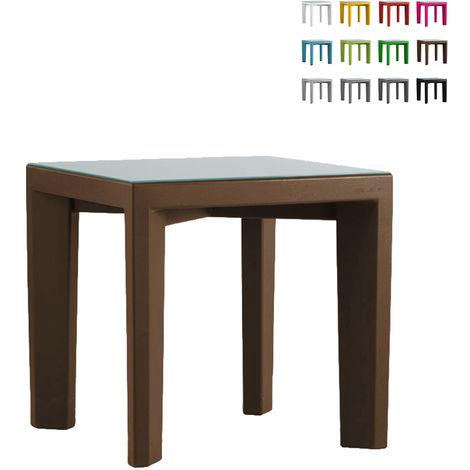 Square table 75x75 glass top for bar restaurant garden SLIDE GINO