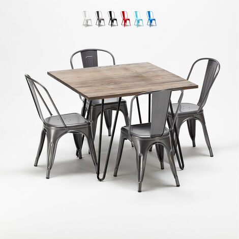 Square table and 4 metal chairs set Tolix industrial style for Bars and Pubs BAY RIDGE
