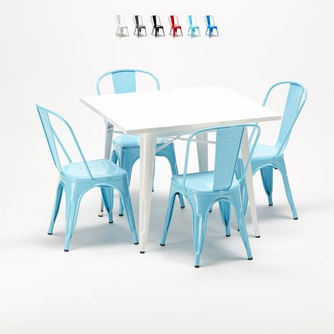Square table and 4 metal chairs set Tolix industrial style for Bars and Pubs HARLEM