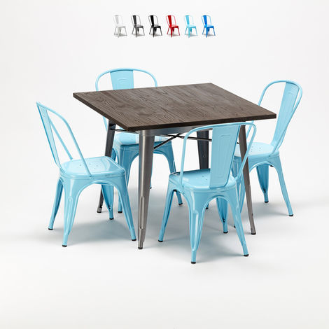 Square table and 4 metal chairs set Tolix industrial style for Bars and Pubs JAMAICA