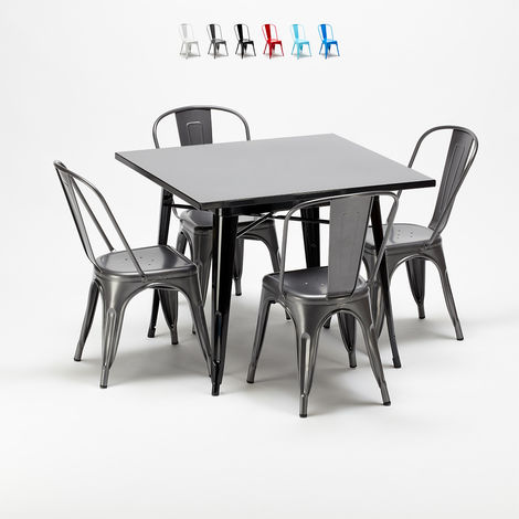 Square table and 4 metal chairs set Tolix industrial style for Bars and Pubs SOHO