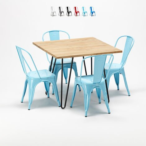 Square table and 4 metal chairs set Tolix industrial style for Bars and Pubs TRIBECA