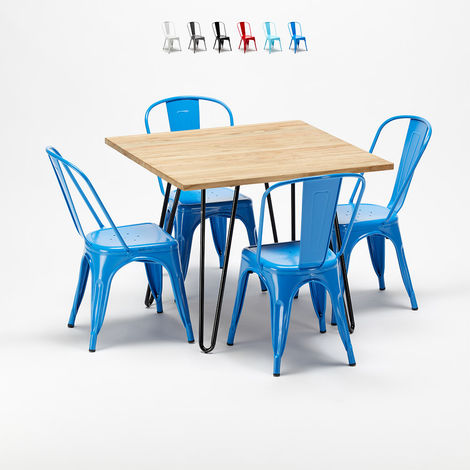 Square table and chairs in metal and wood Tolix style industrial TRIBECA set
