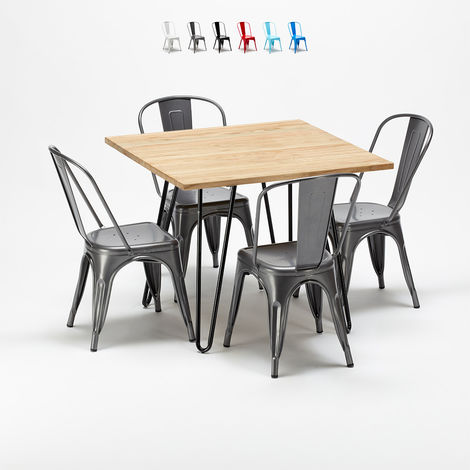 Square table and 4 metal chairs set Tolix industrial style for Bars and Pubs TRIBECA | Grey
