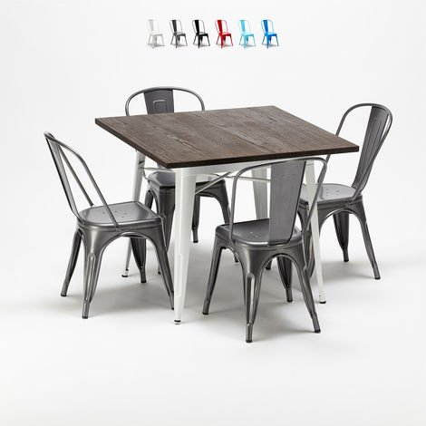 Square table and chairs set in metal wood Tolix industrial style MIDTOWN