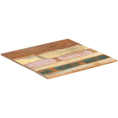 Square Table Top 60x60 cm 15-16 mm Solid Reclaimed Wood - Multicolour