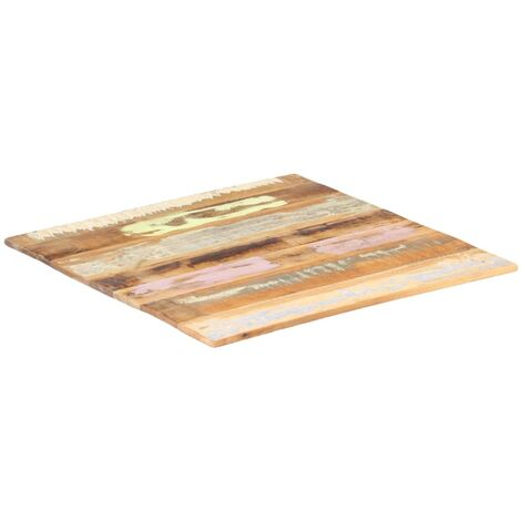 Square Table Top 70x70 cm 15-16 mm Solid Reclaimed Wood - Multicolour