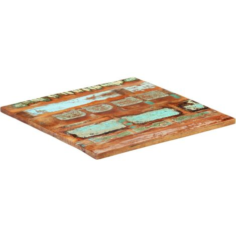 Square Table Top 70x70 cm 25-27 mm Solid Reclaimed Wood - Multicolour