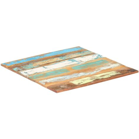 Square Table Top 80x80 cm 15-16 mm Solid Reclaimed Wood - Multicolour