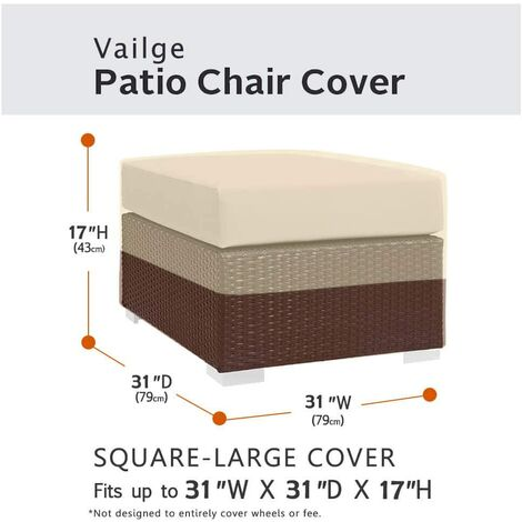 Square terrace footstool cover, waterproof outdoor footstool cover with padded handles, patio side table cover, heavy outdoor furniture cover (small, beige and brown)