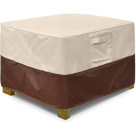 Square terrace footstool cover, waterproof outdoor footstool cover with padded handles, patio side table cover, heavy outdoor furniture cover (small, beige and brown)a