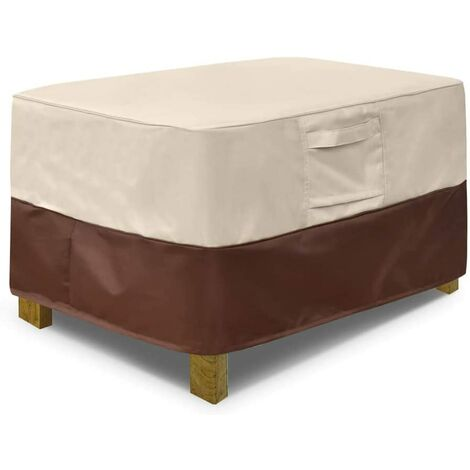 Square terrace footstool cover, waterproof outdoor footstool cover with padded handles, patio side table cover, heavy outdoor furniture cover (small, beige and brown)c