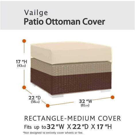 Square terrace footstool cover, waterproof outdoor footstool cover with padded handles, patio side table cover, heavy outdoor furniture cover (small, beige and brown)e