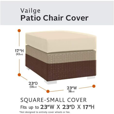 Square terrace footstool cover, waterproof outdoor footstool cover with padded handles, patio side table cover, heavy outdoor furniture cover (small, beige and brown)f