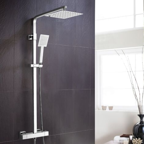 Square Thermostatic Exposed Twin Head Mixer Shower Set