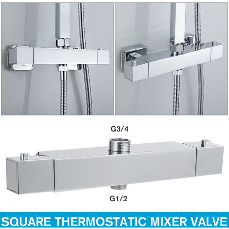 Square thermostatic mixer for Mohoo chrome mixer