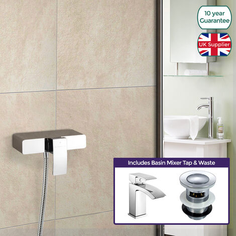 """main image of """"Square Thermostatic Shower Handset Mixer & Basin Mixer Tap Chrome"""""""