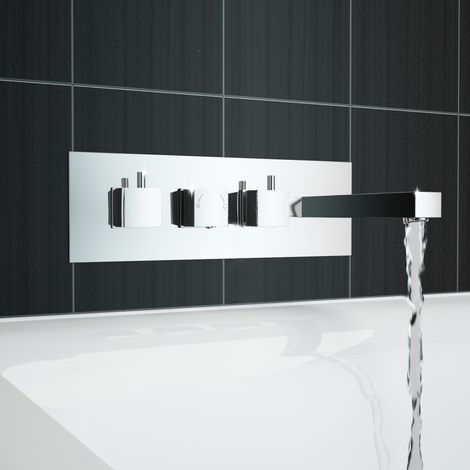 Square Thermostatic Triple Valve Bath Shower Mixer Wall Taps