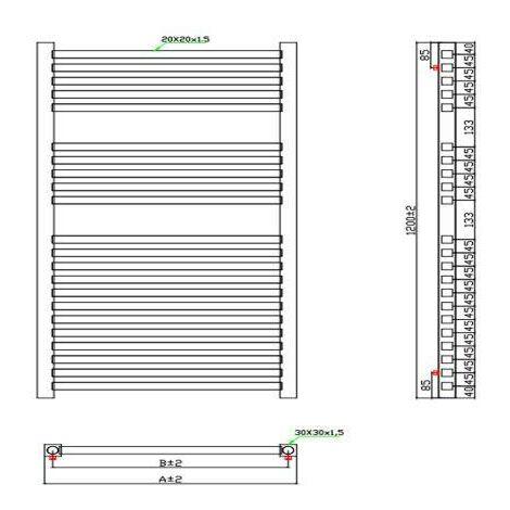 Square Towel warmer 1600x450 1508 BTUs Chrome