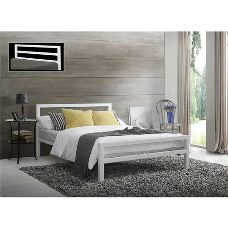 Square Tubular White Metal Bed Frame - Double 4ft 6""