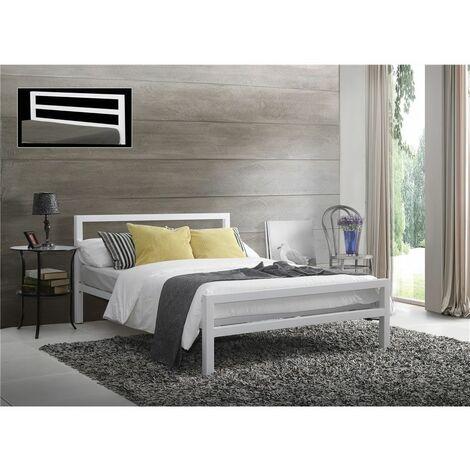Square Tubular White Metal Bed Frame - King Size 5ft