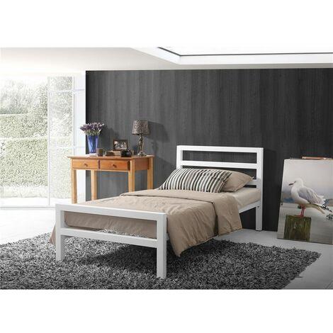 Square Tubular White Metal Bed Frame - Single 3ft