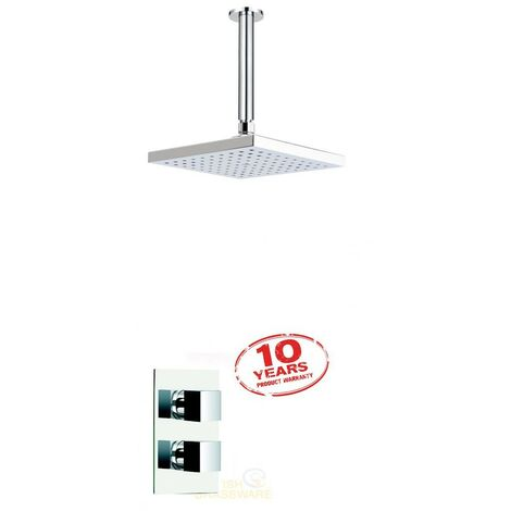 Square Twin Dual Concealed Thermostatic Shower Mixer + Ceiling Fed Arm + Head