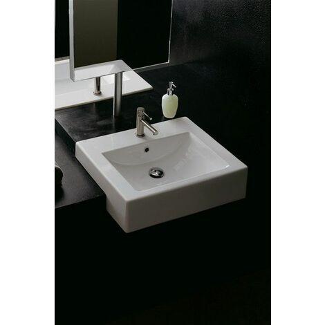 Square vasque semi-encastré