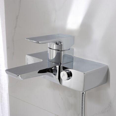 Square Wall Mounted Bath Filler Mixer Tap Chrome