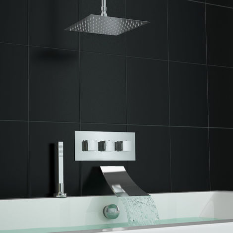 Square Waterfall Concealed Bath Filler Set With 3 Way Shower Valve And Deck Kit
