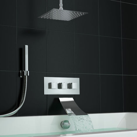 Square Waterfall Concealed Bath Filler Set With 3 Way Shower Valve Kit