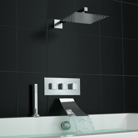 Square Waterfall Deck Bath Filler Kit And Concealed 3 Way Shower Valve